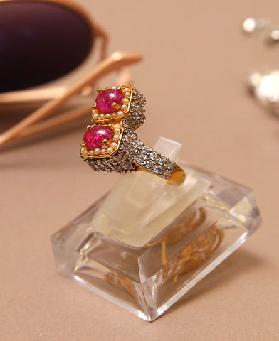 Double Treated Ruby Luxury Ring