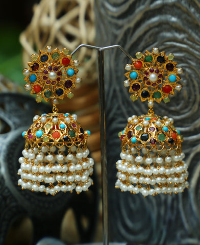 Hyderabadi Traditional Naurattan Jhumkas
