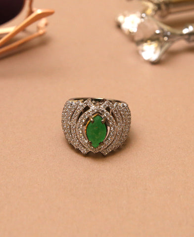 Jadeite and Clear Zircon Ring