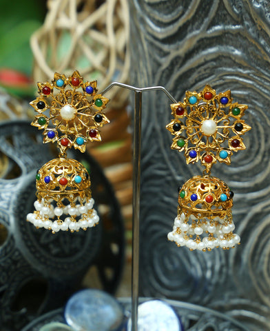 Hyderabadi Lacha Cultured Naurattan Jhumkas