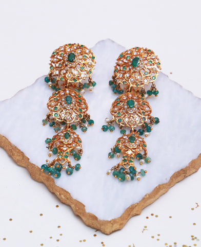 Emerald Jhalar Hyderabadi Earrings