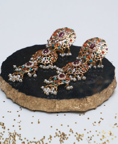 Naurattan Jhalar Hyderabadi Earrings