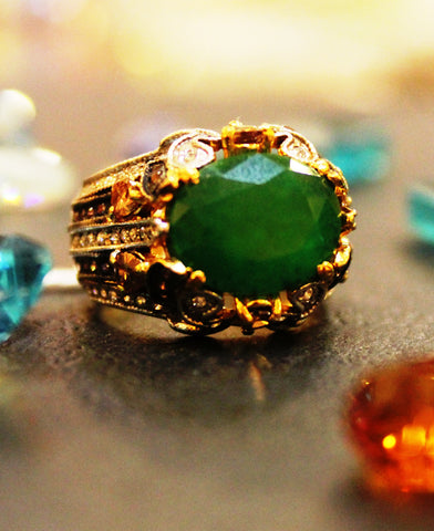 Vintage Green Cocktail Ring