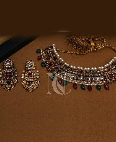 Maharani Ruby and Emerald Choker Necklace