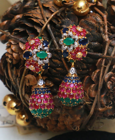 Tri Colored Drop Half Bali Earrings