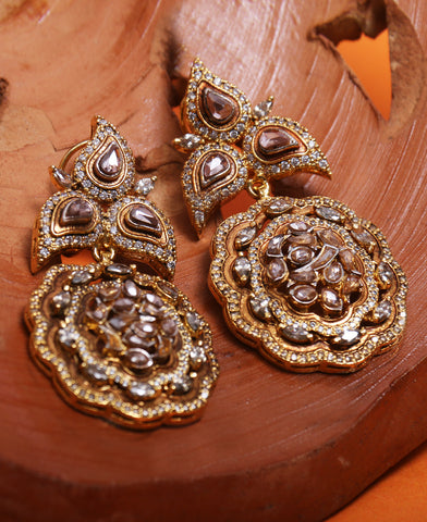 Floral Mena Polki Earrings