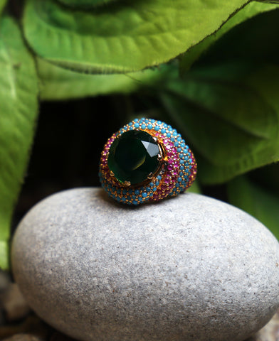 Tri Color Statement Ring