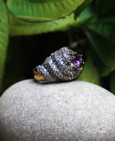 Purple HoneyComb Ring