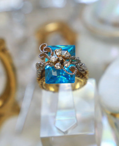 Aqua chunky twisted wire ring