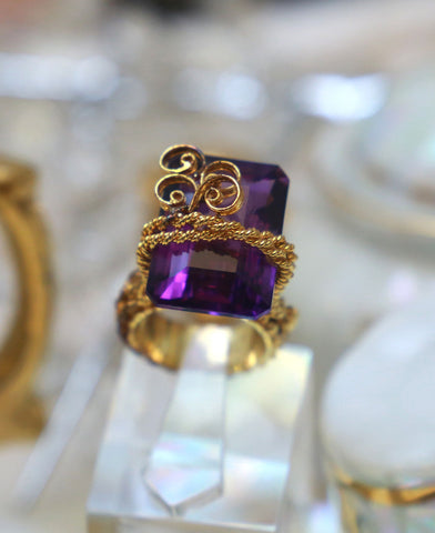 Purple Chunky Twisted Wire Ring