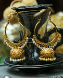 Traditional Pipe bali Pearl Jhumkas