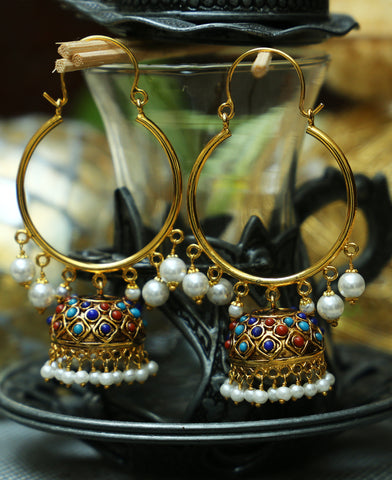 Traditional Pipe bali Naurattan jhumkas