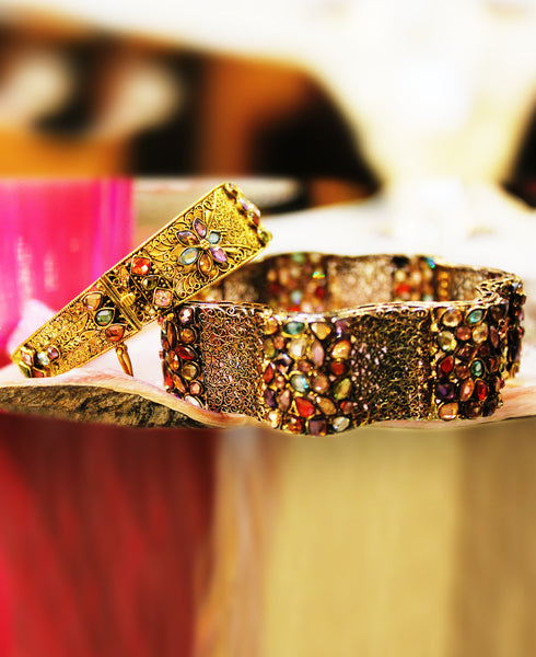 Multi colored Polki Cuffs