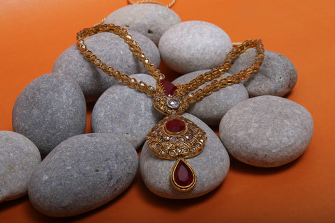The Raani Haar - Bridal Necklace Set in treated Ruby Centres and Grey coloured polkies