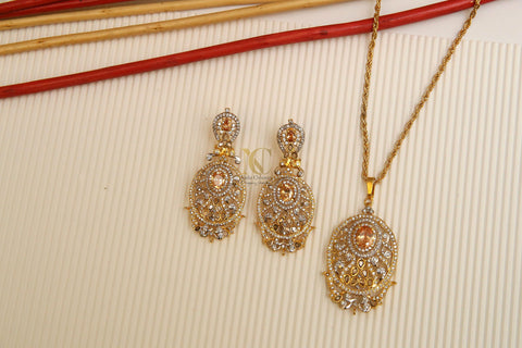 Zircon Pendant Set with Coloured Stones