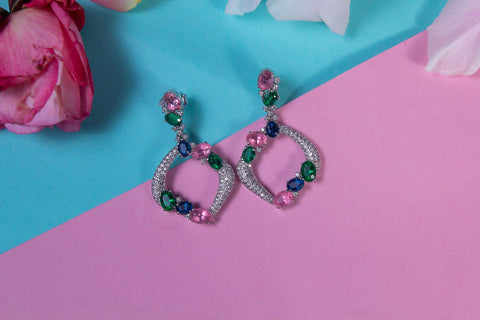 Elegant Sterling silver Earrings wit Emerald, Sapphire and Pink topaz like coloured zircons