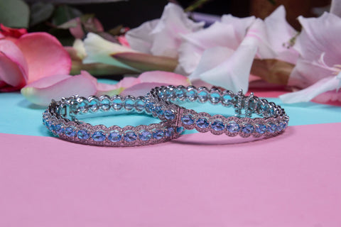 Blue Topaz and Zircon Bangles in 925 Silver