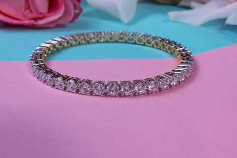 Clear Zircon Sterling Silver Bangles