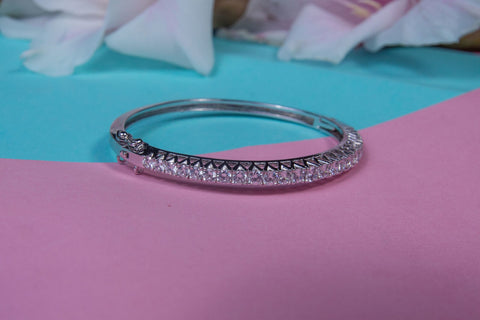 Clear Zircon Sterling Silver Bangle