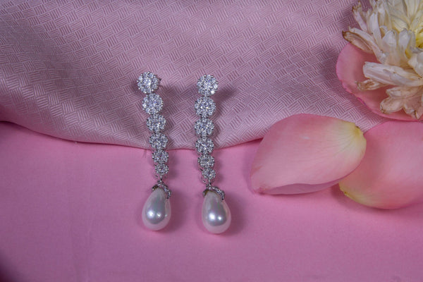 Silver Earrings with Dangling Shell pearls