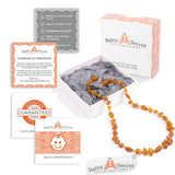 Premium Raw Baltic Amber Necklace & Bracelet For Children / Extra Safe