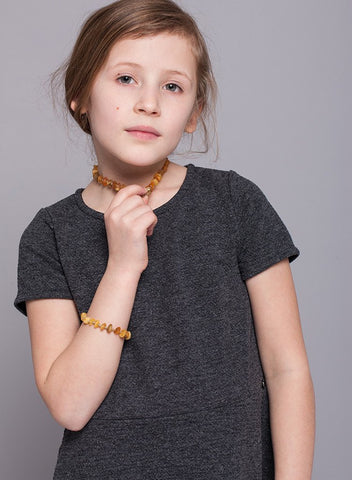Premium Raw Baltic Amber Necklace and/or Bracelet For Children / Extra Safe - Baltic Secret