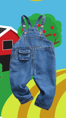 denim overalls with farm background