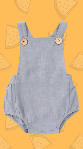 gray suspender bodysuit with yellow background and watermelon drawn on