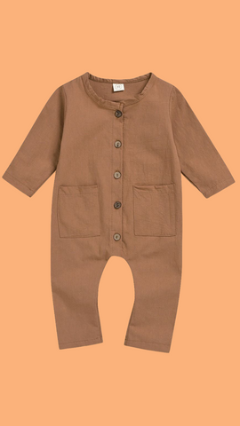 Long Sleeve Button Jumpsuit in Brown