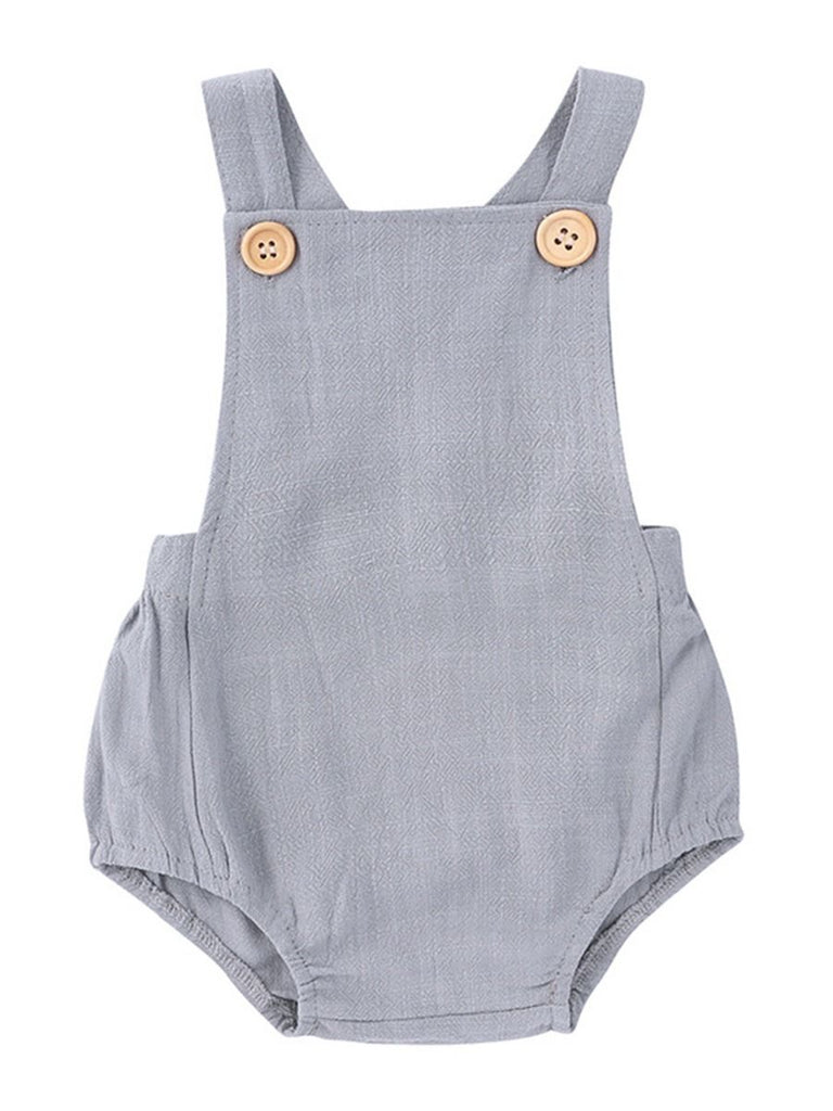 gray suspender bodysuits with button details front shot