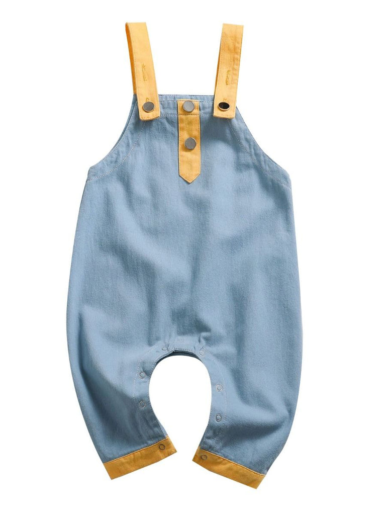 color block overalls in blue with yellow front shot