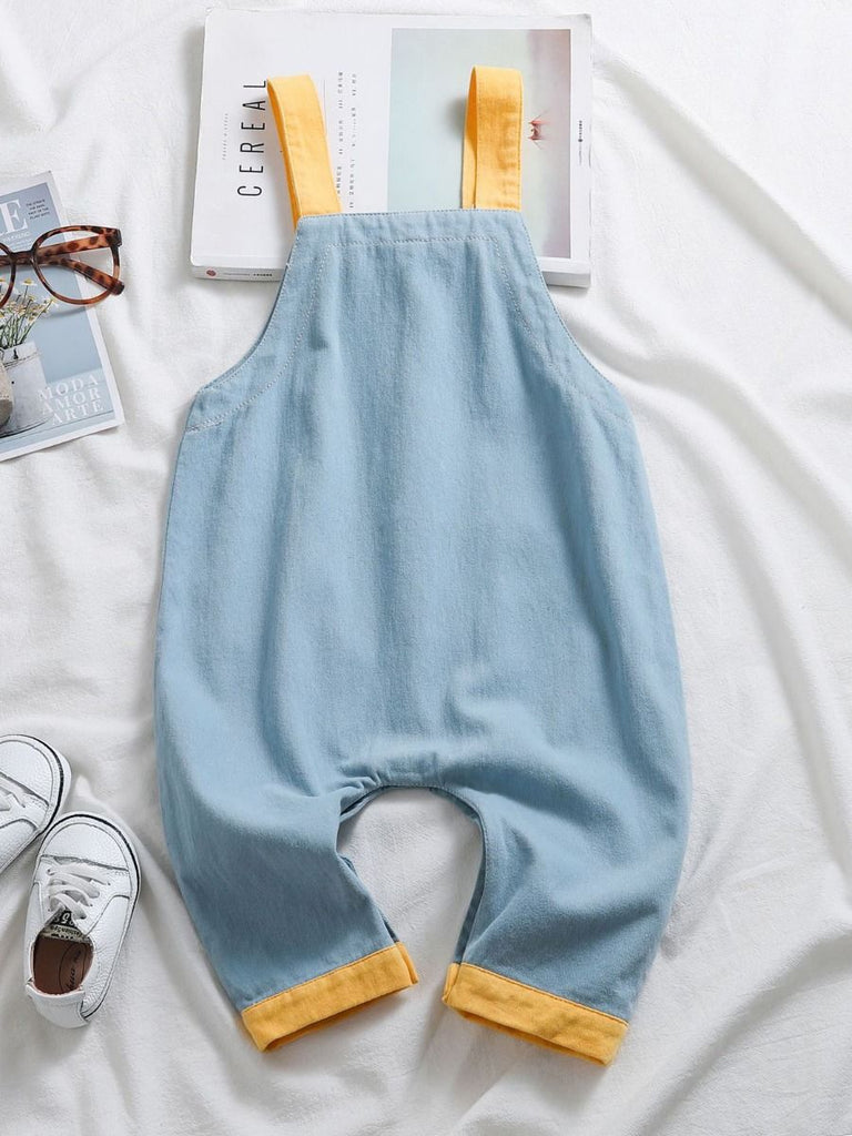 color block overalls in blue with yellow backshot