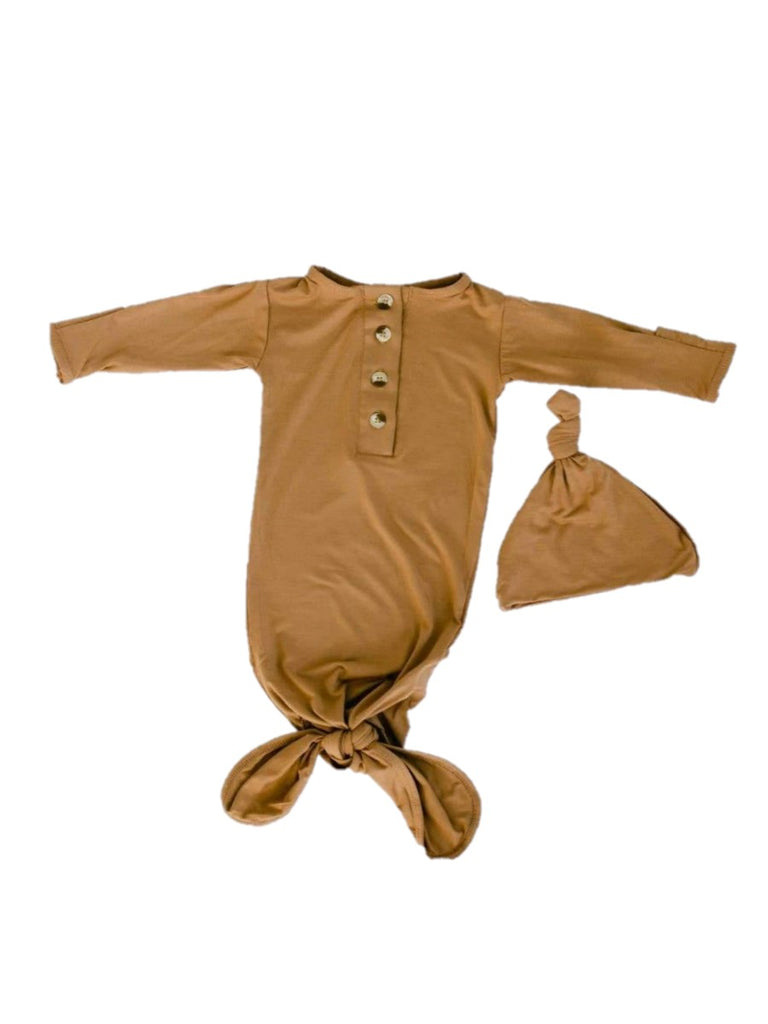 Brown Knotted Gown with Cap