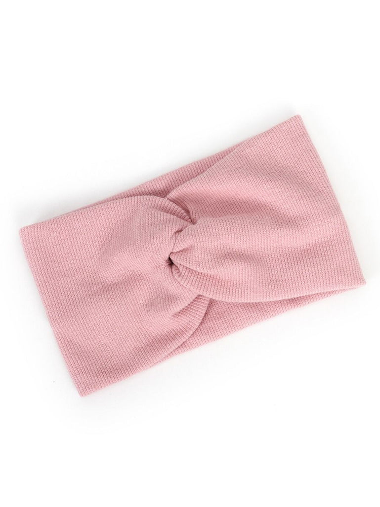 ribbed knotted headband in pink