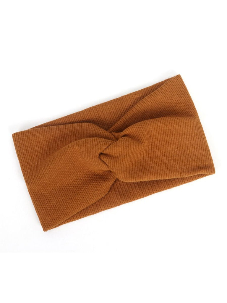 ribbed knotted headband in terracotta