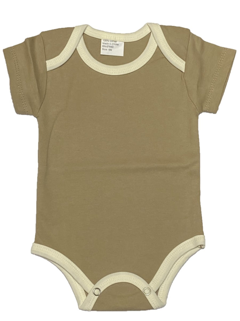 beige bodysuit with camel brown trim