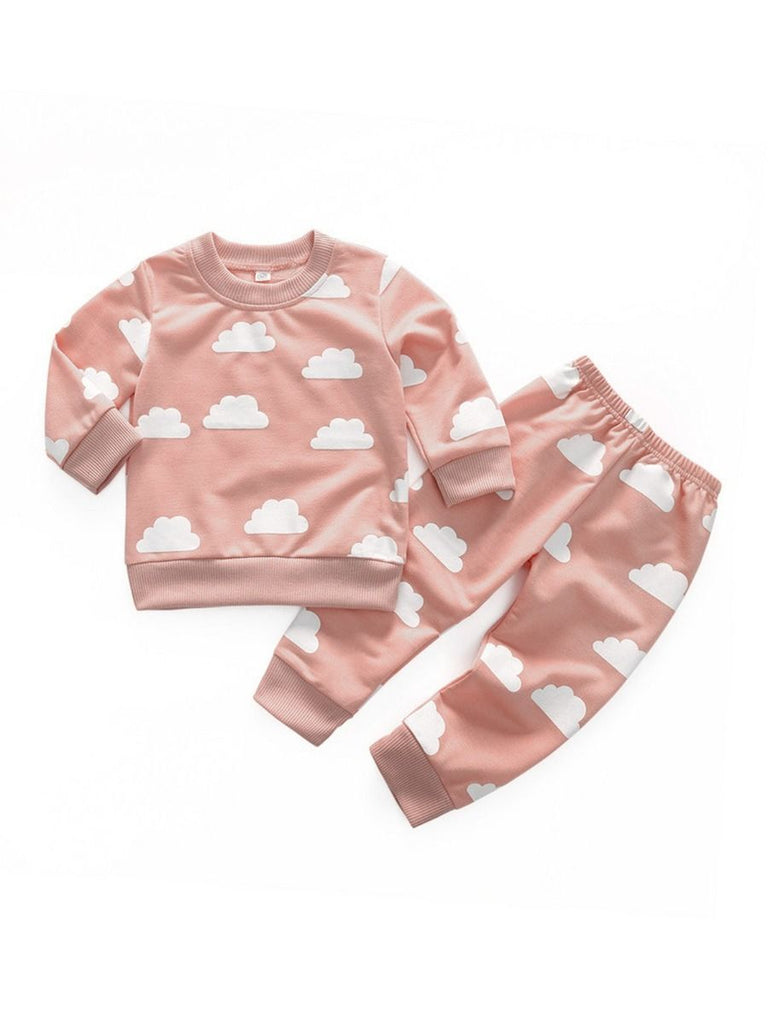 cloud sweater and jogger set in pink