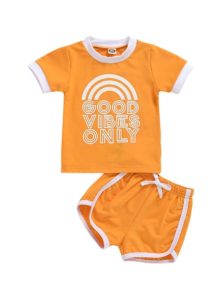 good vibes only orange baby two piece set shirt and short with drawstring