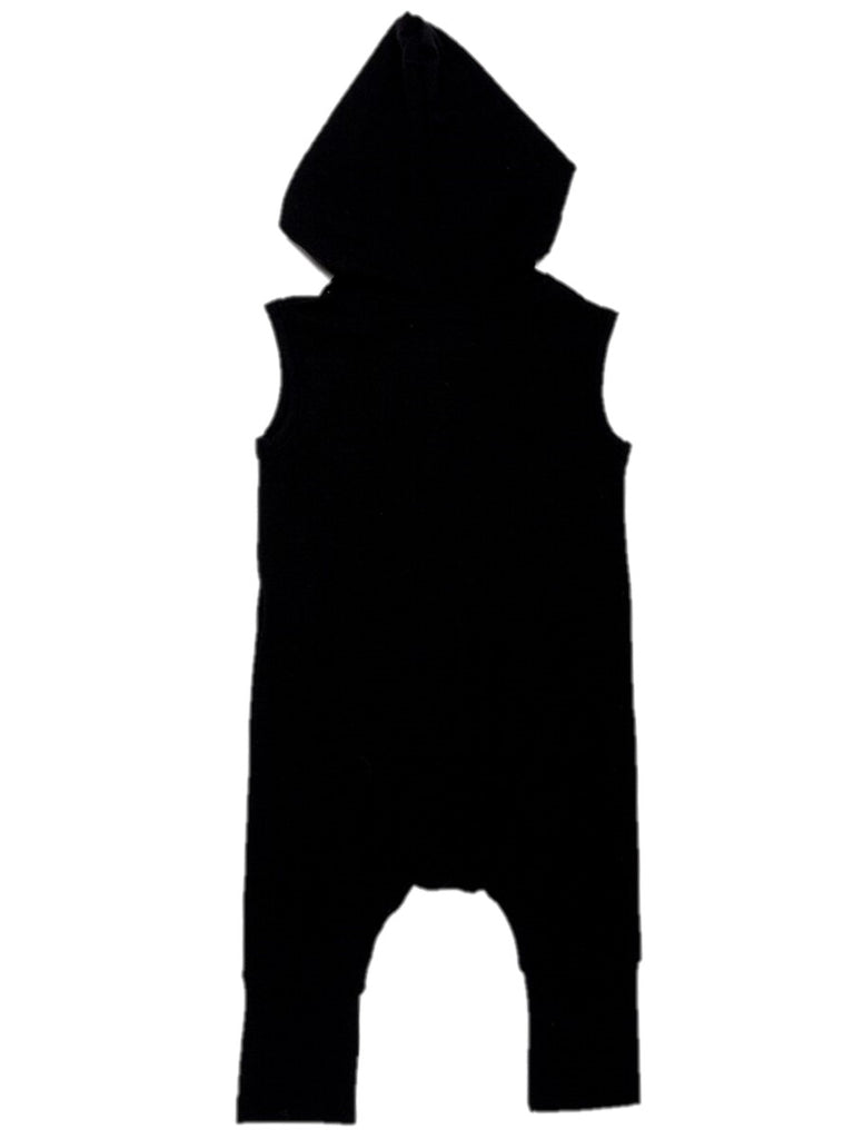 back of black hooded romper