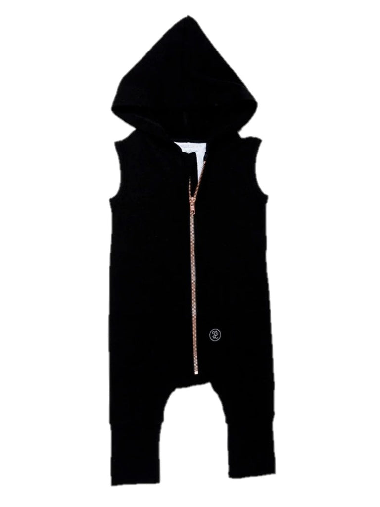 black hooded romper
