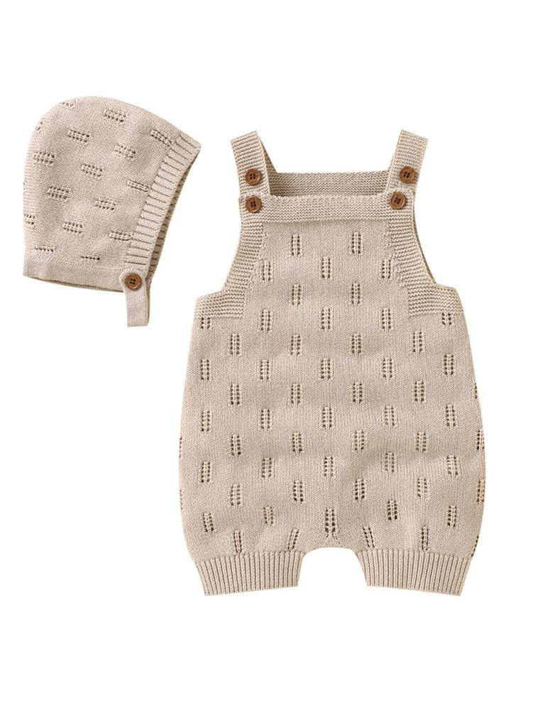 brown knitted romper with hat set