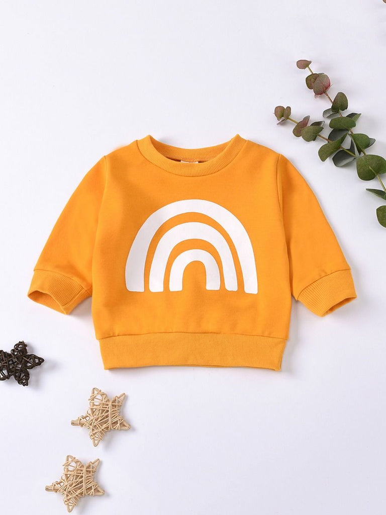 orange sweater for baby in orange with white rainbow print additional image