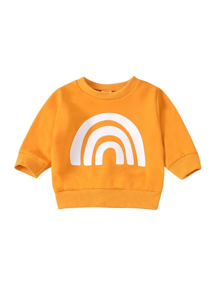 orange sweater for baby in orange with white rainbow print