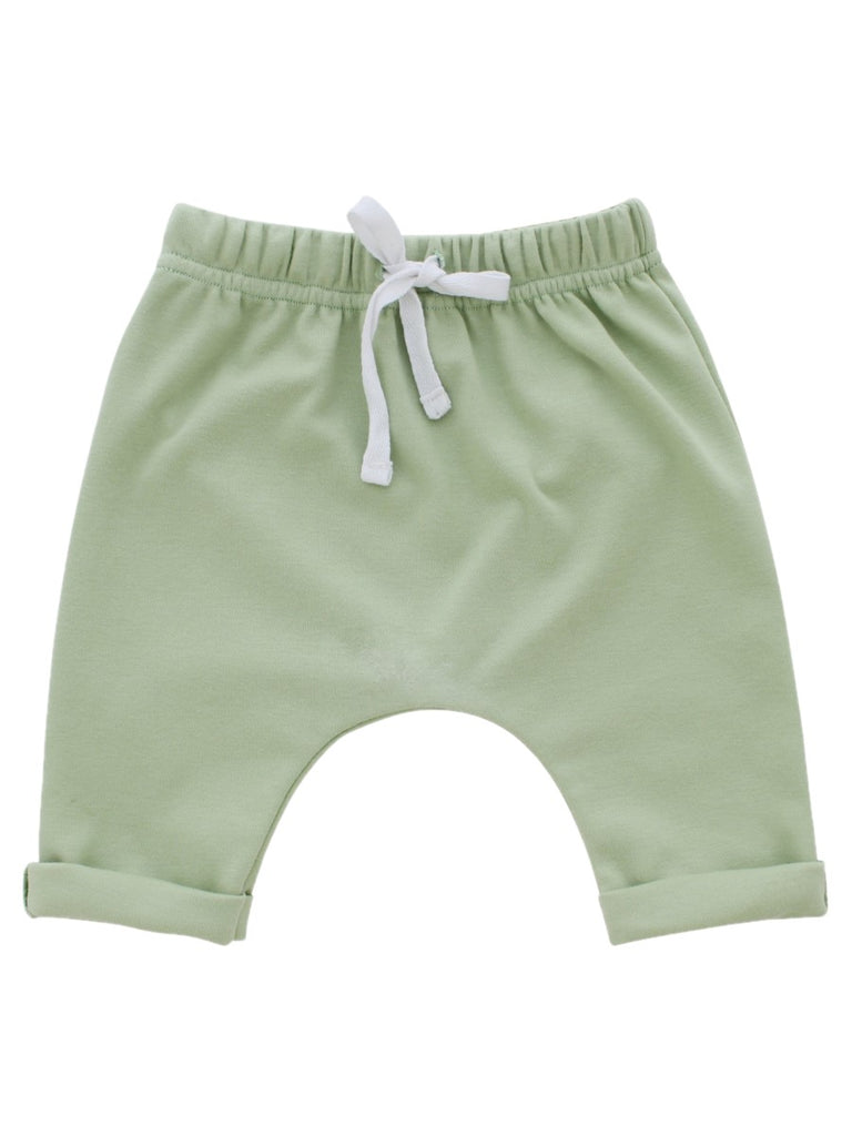 sage green baby joggers with elastic waistband and drawstrings