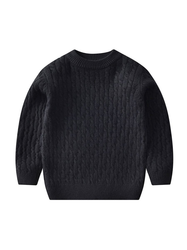 cable knit sweater in solid black