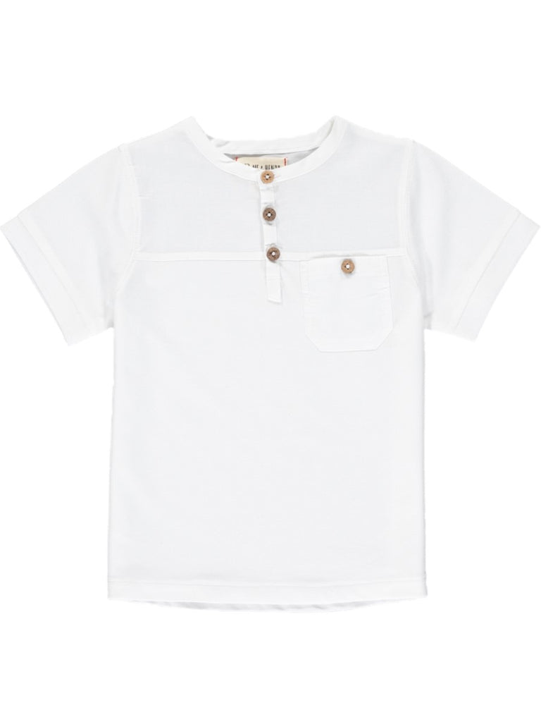 white boys short with button detail
