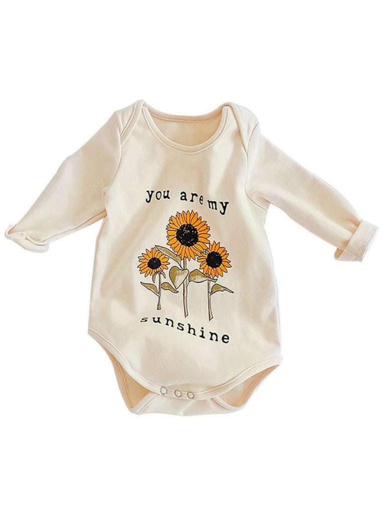front image of you are my sunshine long sleeve bodysuit