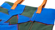 PATCH WORK TOTE BAG (NAVY BLUE/FOREST GREEN)