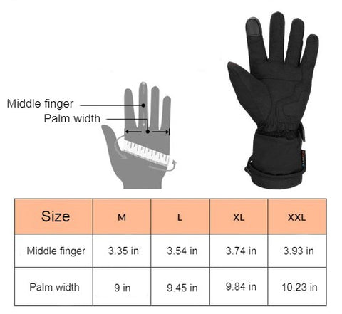 Red Heated Motorcycle Gloves Size