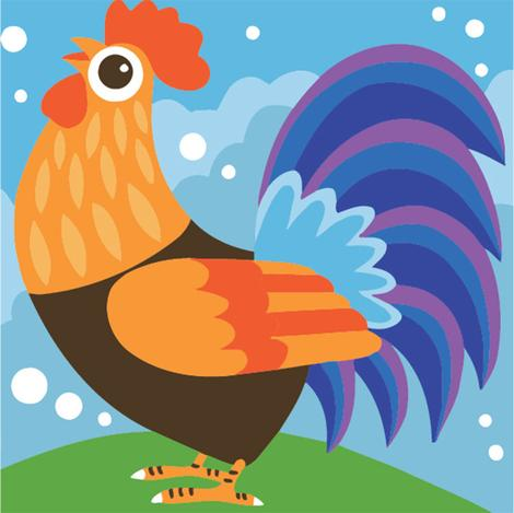 Small Size Cock Diy Paint By Numbers Kits Uk For Kids Beginners UK FK202